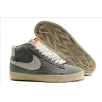本物の Nike Blazer High Anti-Fur Mens Grey White Shoes