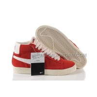 本物の Nike Blazer High Anti-Fur Mens Red White Shoes