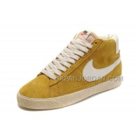 本物の Nike Blazer High Anti-Fur Mens Yellow White Shoes