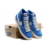Nike Blazer High Premium Vintage Suede Mens Blue White Shoes 格安特別