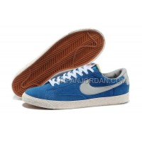 本物の Nike Blazer Low Anti-Fur Mens 1756 Bright Blue Shoes