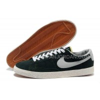 本物の Nike Blazer Low Anti-Fur Mens 1756 Dark Green Shoes
