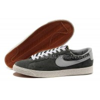 本物の Nike Blazer Low Anti-Fur Mens 1756 Grey Shoes