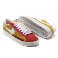 本物の Nike Blazer Low Anti-Fur Mens Retro Yellowing Bright Yellow Orange Shoes