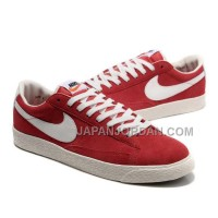 Nike Blazer Low Premium Vintage Suede Womens Red White Shoes 割引販売