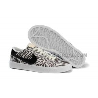 ホット販売 Nike Blazer Low Print Womens Leopard Black White Shoes