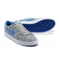 ホット販売 Nike Blazer Low Womens Canvas Floral Blue Shoes