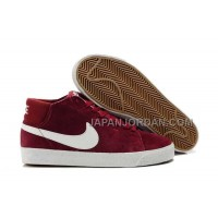 Nike Blazer Mid Suede Mens Deep Red White Shoes 格安特別