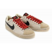 Nike Blazer Suede Vintage Low Premium Mens Beige Red Shoes 格安特別