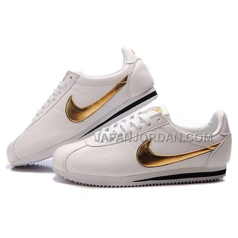 nike cortez leather shoes white gold 割引販売 price