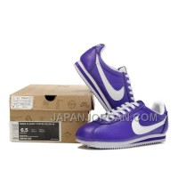 新着 Nike Cortez Leather Women Shoes Purple White