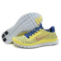 新着 Nike Free 3.0 V4 Womens Electric Yellow Deep Royal Shoes
