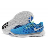 ホット販売 Nike Free 5.0 2014 Mens Blue White Shoes
