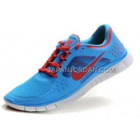 新着 Nike Free Run 3 Mens Blue Glow University Red Shoes