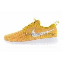 送料無料 Nike Roshe Run Flyknit Womens Gold Lead White Laser Orange Shoes