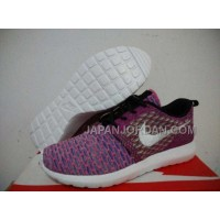 Nike Roshe Run Flyknit Womens Purple White Shoes 格安特別