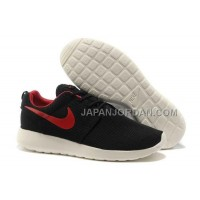ホット販売 Nike Roshe Run Mesh Mens Black Red Shoes