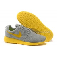 Nike Roshe Run Mesh Mens Gray Yellow Shoes 格安特別