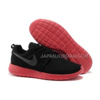 送料無料 Nike Roshe Run Mesh Womens Black Red Shoes