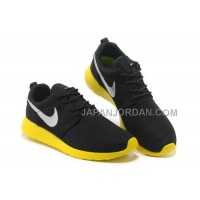 送料無料 Nike Roshe Run Mesh Womens Black Yellow Silver Shoes