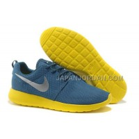 送料無料 Nike Roshe Run Mesh Womens Blue Yellow Silver Shoes