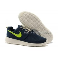 送料無料 Nike Roshe Run Mesh Womens Dark Blue Fluorescence Green Shoes