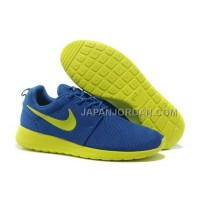 送料無料 Nike Roshe Run Mesh Womens Dark Blue Yellow Citron Shoes