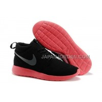 送料無料 Nike Roshe Run Mid Womens Black Red Shoes