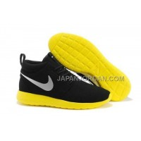 送料無料 Nike Roshe Run Mid Womens Black Yellow Shoes