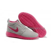 送料無料 Nike Roshe Run Mid Womens Loup Gray Pink Shoes
