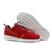 ホット販売 Nike Roshe Run NM Suede Mens Hot Red White Shoes
