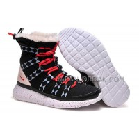 送料無料 Nike Roshe Run Sherpa High Womens Black Red Shoes
