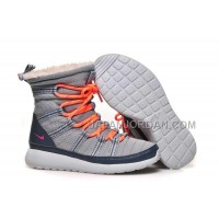 送料無料 Nike Roshe Run Sherpa High Womens Grey Orange Shoes