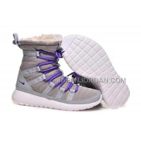 送料無料 Nike Roshe Run Sherpa High Womens Grey Purple Shoes