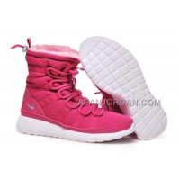 送料無料 Nike Roshe Run Sherpa High Womens Pink Shoes