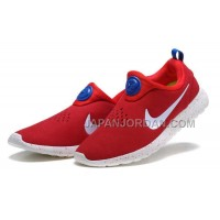 ホット販売 Nike Roshe Run Slip On Mens Suede Promo Red White Blue Shoes