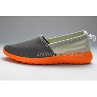 Nike Roshe Run Slip On Women Orange Gray Shoes ホット販売