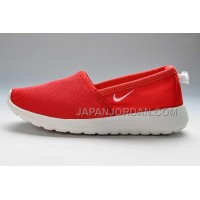 Nike Roshe Run Slip On Womens Red White Shoes ホット販売