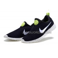 送料無料 Nike Roshe Run Slip On Womens Suede Promo Black White Electric Yellow Shoes