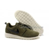 Nike Roshe Run Suede Mens Army Green White Black Shoes ホット販売
