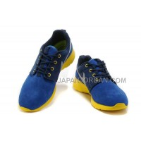 送料無料 Nike Roshe Run Suede Womens Blue Yellow Silver Shoes