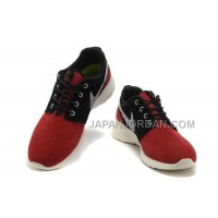 送料無料 Nike Roshe Run Suede Womens Red Black Silver Shoes