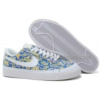 ホット販売 Nike Wmns Blazer Low Classic Womens Blue Cui Flower Shoes
