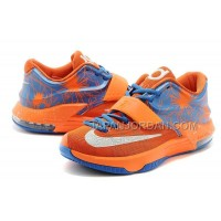 オンライン Nike Zoom KD Vii Mens Orange Blue With White Logo