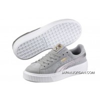 PUMA Suede Platform 2 Mens Womens Grey White Authentic