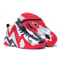 送料無料 Reebok Kamikaze II Mid Mens Fashion Sneaker Basketball White Deep Blue Red