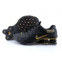 Men's Nike Shox NZ Shoes Black/Gold Top Deals 344206