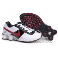 Men's Nike Shox OZ Shoes White/Black/Silver/Red Cheap To Buy