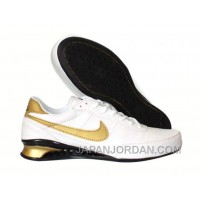 Men's Nike Shox R2 Shoes White/Black/Gold For Sale