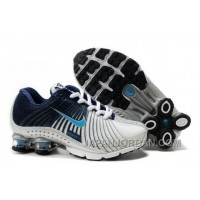 Kid's Nike Shox R4 Shoes White/Midnight Navy/Light Blue Authentic
